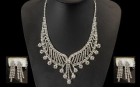 White Crystal Necklace and Earrings Set,