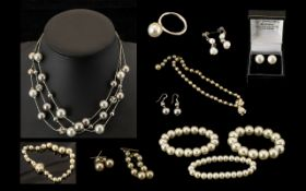 Collection of Pearl Costume Jewellery both vintage and modern,