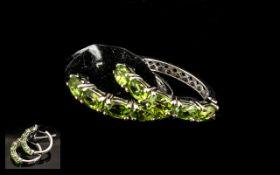 Peridot Hoop Earrings,