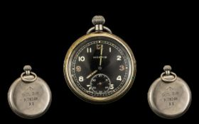 World War II German Moeris Military Pocket Watch - Featuring self winding black dial.