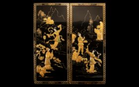 Pair of Chinese Lacquered Panels depicting dancing girls, highlighted with Mother-of-Pearl and bone.