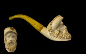 Antique Period - Nice Quality Meerschaum Pipe In the Form of a Well Carved Image of a Bearded Man's