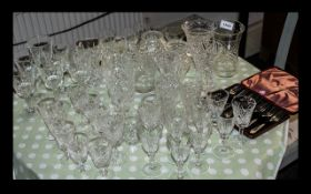 Large Collection of Crystal Glasses including whiskey tumblers, wine glasses, sherry glasses,