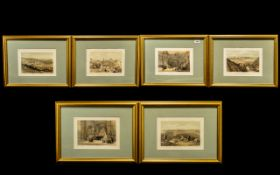 Middle Eastern And Holy Land Set Coloured Antique Prints by David Roberts RA six in total,