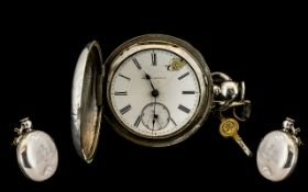 Large Silver Full Hunter Pocket Watch White Enamelled Dial, Roman Numerals With Subsidiary Seconds,