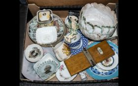 Collection of Assorted Porcelain & Pottery to include two pot planters; a lidded jam pot;
