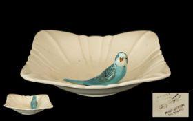 Large Vintage Art Deco Style Square White Shallow Bowl with Blue Budgie figure Reg. No.