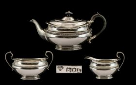 Goldsmiths And Silversmiths Company Very Fine Quality- Sterling Silver 3 Piece Tea Service Comprises