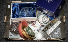 Collection of Porcelain & Glass comprising boxed Queens Bone China 'Garland Rose' TV Tray & Mug;