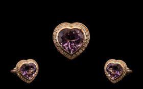 Rose de France Amethyst and White Zircon Heart Shaped Ring, an 11ct heart shaped Rose de France