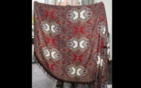 Paisley Antique Large Size Table Cloth with a vibrant red calico pattern, in very good condition.