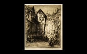 W. Rerrison Etching Street Scene with Fi