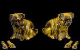 Pair Of Antique Ceramic Pug Dogs Unmarke