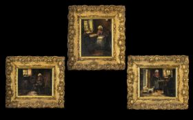 Antique Oil Paintings on Canvas Laid on
