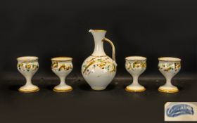 Pottery Jug & Four Pottery Goblets in st