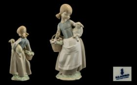 Lladro Porcelain Figure ' Girl with Lamb