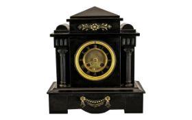 Black Slate Mantle Clock with Black Marb