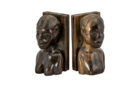 Pair of Carved African Hardwood Book End