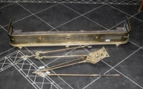 Early Victorian Brass Fender with fretwo