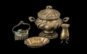 A Small Mixed Lot of 800 Silver to include a twin handled bowl and cover, a small dish,