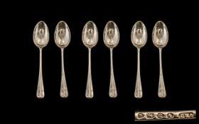 Victorian Period Pleasing Set of Six Sterling Silver Rattail Tea Spoons. Hallmark London 1882.