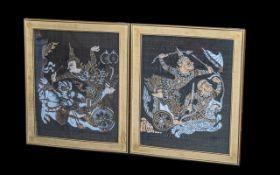 """Two Framed Thai Silks measuring 21"""" x 25"""" including gold frames."""