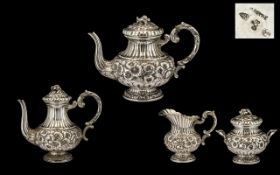 Italian Nice Quality 20thC Silver Four Piece Tea and Coffee Service of good proportions and