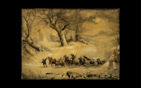 19thC Watercolour on Paper depicting wagoneers hauling a large tree pulled by 4 horses in a winter
