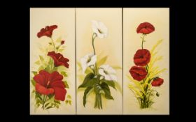 Set of (3) Oil Paintings on Canvas Depicting Flowers - all are unframed.