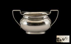 Edwardian Period Silver Two Handle Sugar Bowl - hallmark Birmingham, maker D and F.