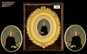 J M Fox Fine Quality Water Colour Miniature Drawing housed in a gold leaf oval frame with moulded