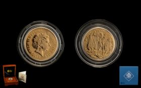 Royal Mint Diamond Jubilee Queen Elizabeth II Celebration 22ct Gold Full Sovereign - date 2012.