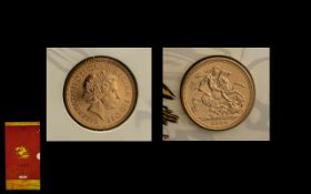 Royal Mint Issued Elizabeth II 22ct Gold Full Sovereign. Dated 2000.