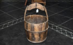 Antique Traditional Wooden Bucket for collecting water,