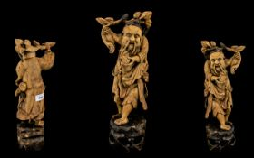 Chinese Antique Carved Wood Figure of an old man carrying a melon tree branch on a reticulated