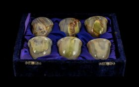 Set of Six Onyx Cups in fixed blue case.