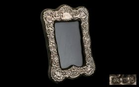 Edwardian Style Sterling Silver Ornate Photo Frame - with velvet back and vacant cartouche.