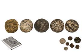 A Collection of Assorted Coins in a cigarette box (5) English silver hammered coins (various