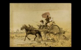 Antique Sepia Coloured Print of the Wagoneer. Signature to the corner, No. 3917, unframed. Size 8.
