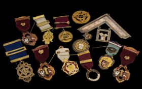 Collection Of Masonic Medals To Include Two Silver Hallmarked Medals, Large White Metal Set Square,