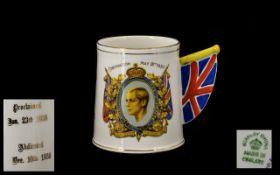 Edward VIII Coronation Mug reads: Coronation 23 January 1936, Abdication 10 December 1936.