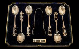 Art Nouveau Boxed Set of Six Silver Spoons and Matching Pair of Sugar Tongs of excellent design.