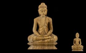 "Oriental Carved Wood Figure of a Seated Buddah Figure - wearing a toga. 14"" high, 9"" wide."