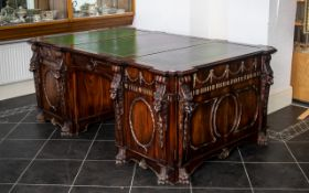 Chippendale Style Mahogany Nostell Priory Partners Desk of fine proportions and size.