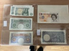 Collection Of Bank Of England Banknotes To Include A White Five Pound Note London 10th Feb 1945 H39