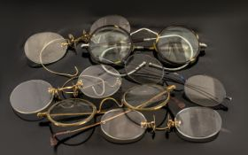Early Spectables in Cases - horn rimmed and Pinchbeck frames - circa 1900's.