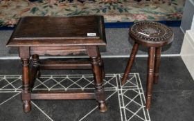 Reproduction Oak Joint Stool of typical shape, on four turned legs, with a three leg carved top