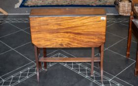Small Drop-Leaf Mahogany Table with two side panels on legs with casters,