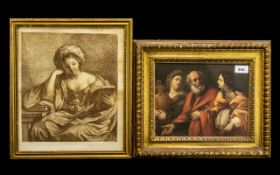 Antique Coloured Print in Gilt Frame a copy of an old master size.