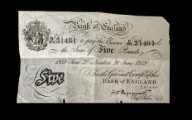 A Bank of England White Five Pound Note London, dated June 20 1939. No B373 31481.
